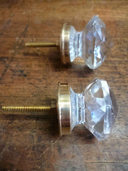 Glass Cupboard Knob (Brass Neck)