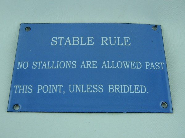 Enamel Sign (Stable Rules)