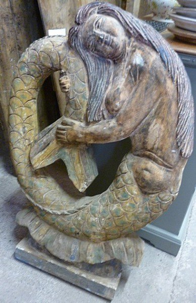 Hand Carved Wooden Mermaid