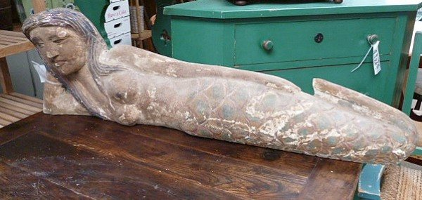 Hand Carved Mermaid Statue Reclining