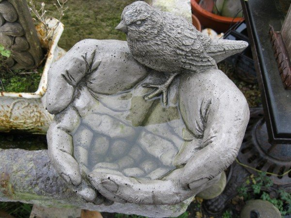 Bird bath wells reclamation for Big hands for gardening