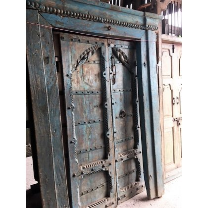 Impressive Pair of Carved Teak Doors