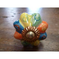 Ceramic Pumpkin Cupboard Knob (Harlequin)