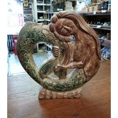 Hand Carved Wooden Mermaid (Small)