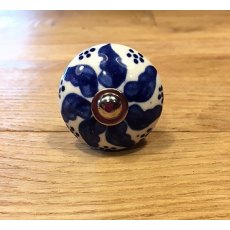 Ceramic Mushroom Cupboard Knob (Royal blue floral)