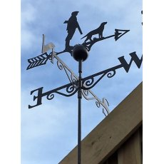 Black Weathervane (Man & Dog)