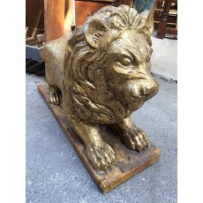 Carved Wooden Gold Painted Lion
