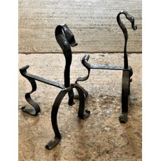 Unusual Pair of Wrought Iron Fire Dogs
