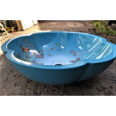 Scalloped Edge Porcelain Sink (Blue Butterflies)