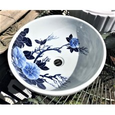 Round Chinese Sink (Blue & White)