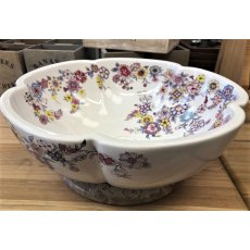 Scalloped Edge Porcelain Sink (White Floral)