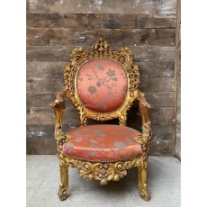 Spectacular Gilt Framed French Style Armchairs