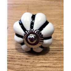 Ceramic Cupboard Pumpkin Knob (Black & White)