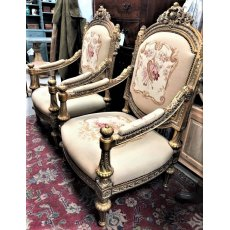 Oversized French Style Upholstered Throne Chairs