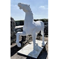 Large White Cast Iron Horse