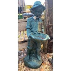 Boy Holding Clam Cast Iron Birdbath