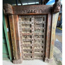 Indian 1800's fortified carved teak doors