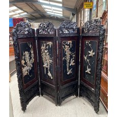 Antique oriental carved ornate 4 fold screen