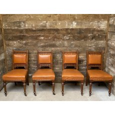 Victorian set of 4 Walnut Gothic style chairs