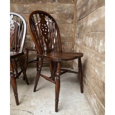 Vintage set of 10 Oak wheel back chairs