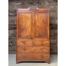 Antique Edwardian flame Mahogany linen press