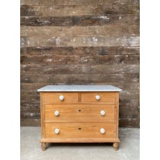 Vintage Pine Marble top chest of drawers