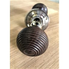 Beehive Wooden Door Knob (Nickel Plated Reeded Rose)