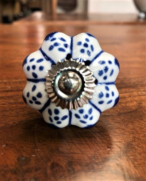 Ceramic Cupboard Knob (Blue & Red Floral)