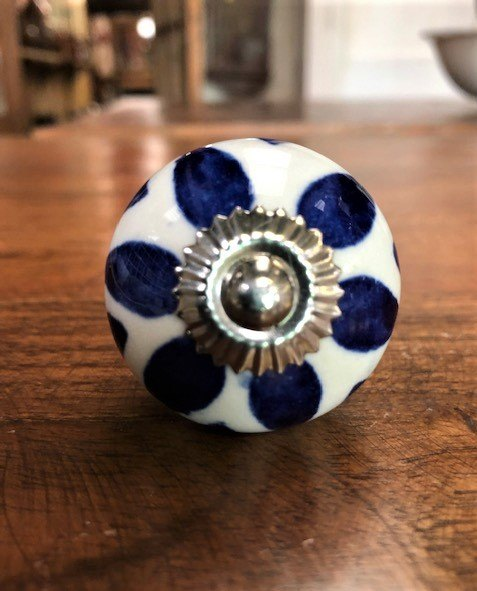 Ceramic Cupboard Knob (Blue Teardrop)