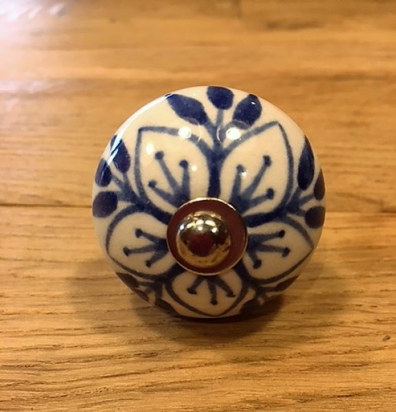 Ceramic Cupboard Knob (Blue & White Flower)