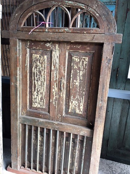 Small Arched Teak Doors with Frame