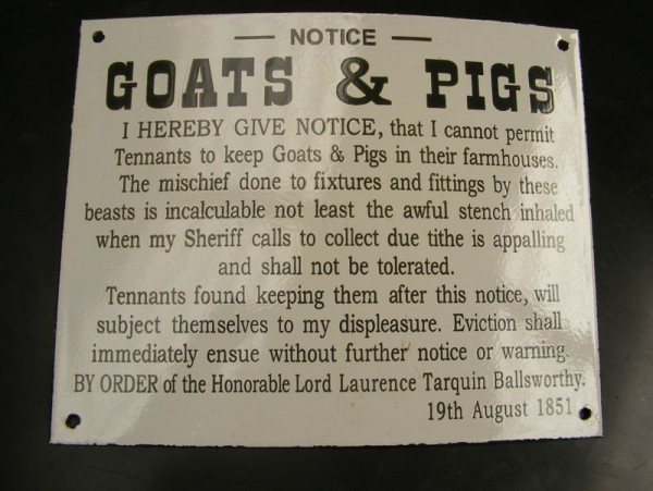 Enamel Sign (Goats and Pigs)