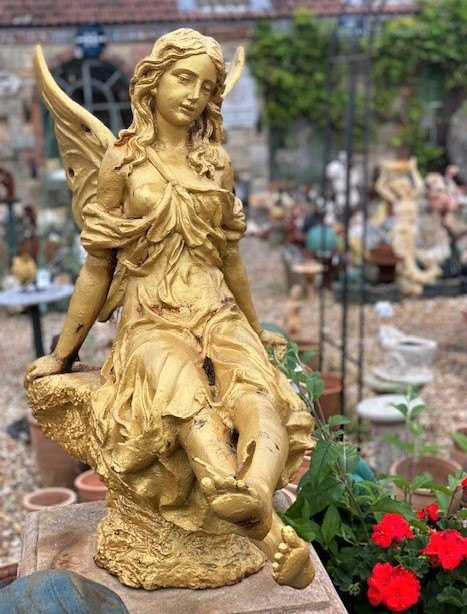 Cast Iron Fairy Statue