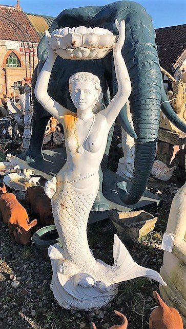 White Cast Iron Mermaid Statue (Large)