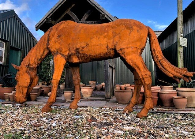 Large Grazing Cast Iron Horse