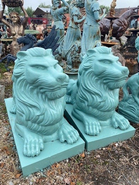 Large Cast Iron Lions