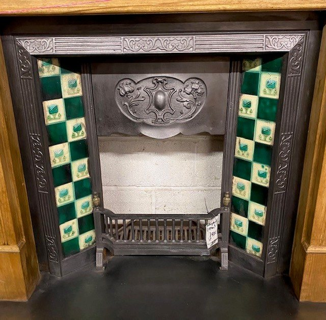 Antique Edwardian Art Nouveau fireplace