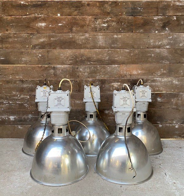 Reclaimed industrial Thorlux lamps