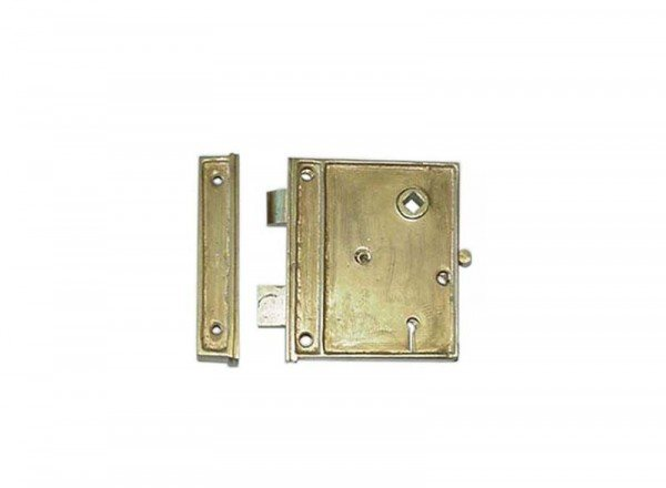 Brass Door Rim Lock (Square)