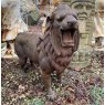 Aged cast Iron roaring lion